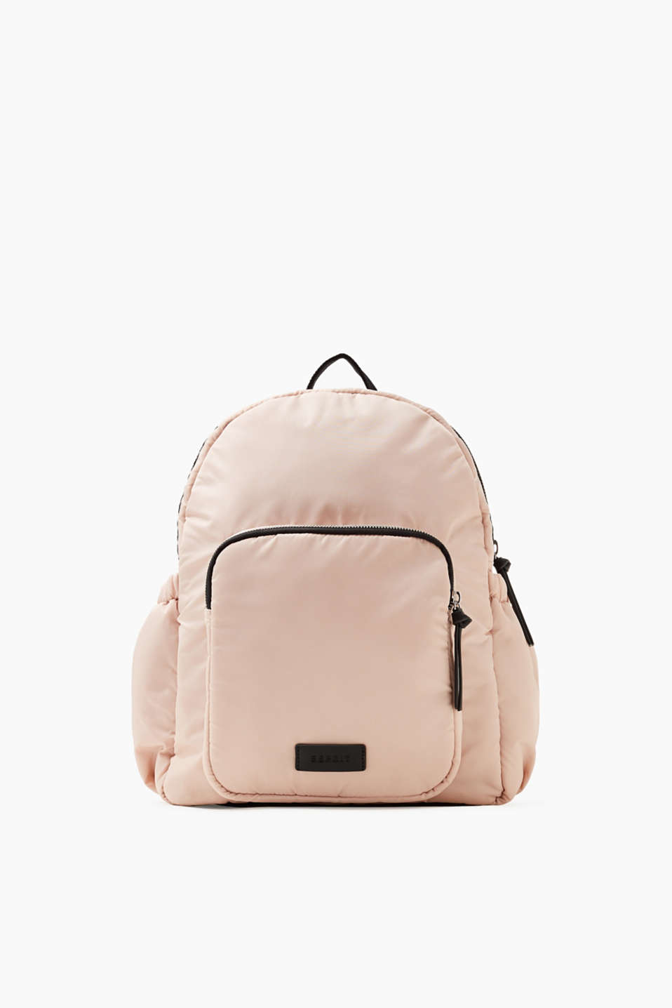 The exciting colour contrast between pink and black makes this little nylon rucksack really eye-catching.