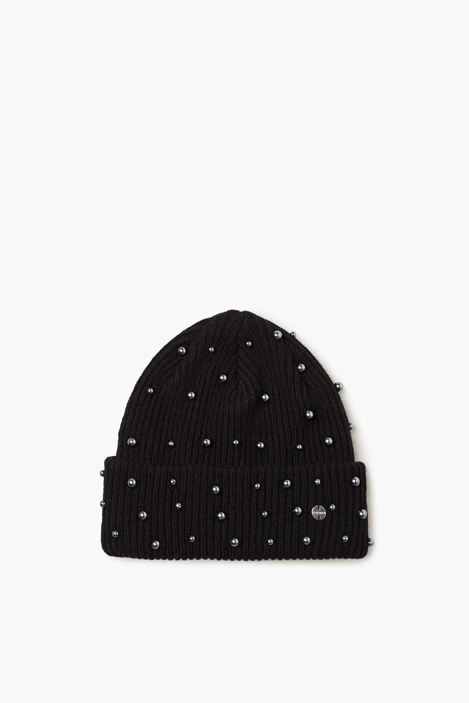 Esprit - Ribbed beanie with bead embellishments at our Online Shop