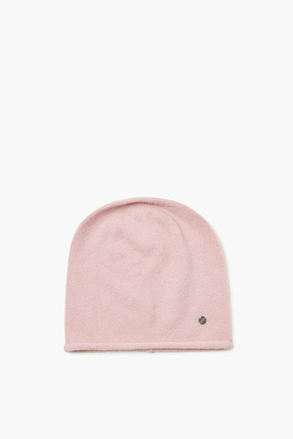 Esprit - Knitted beanie with rolled edges and wool