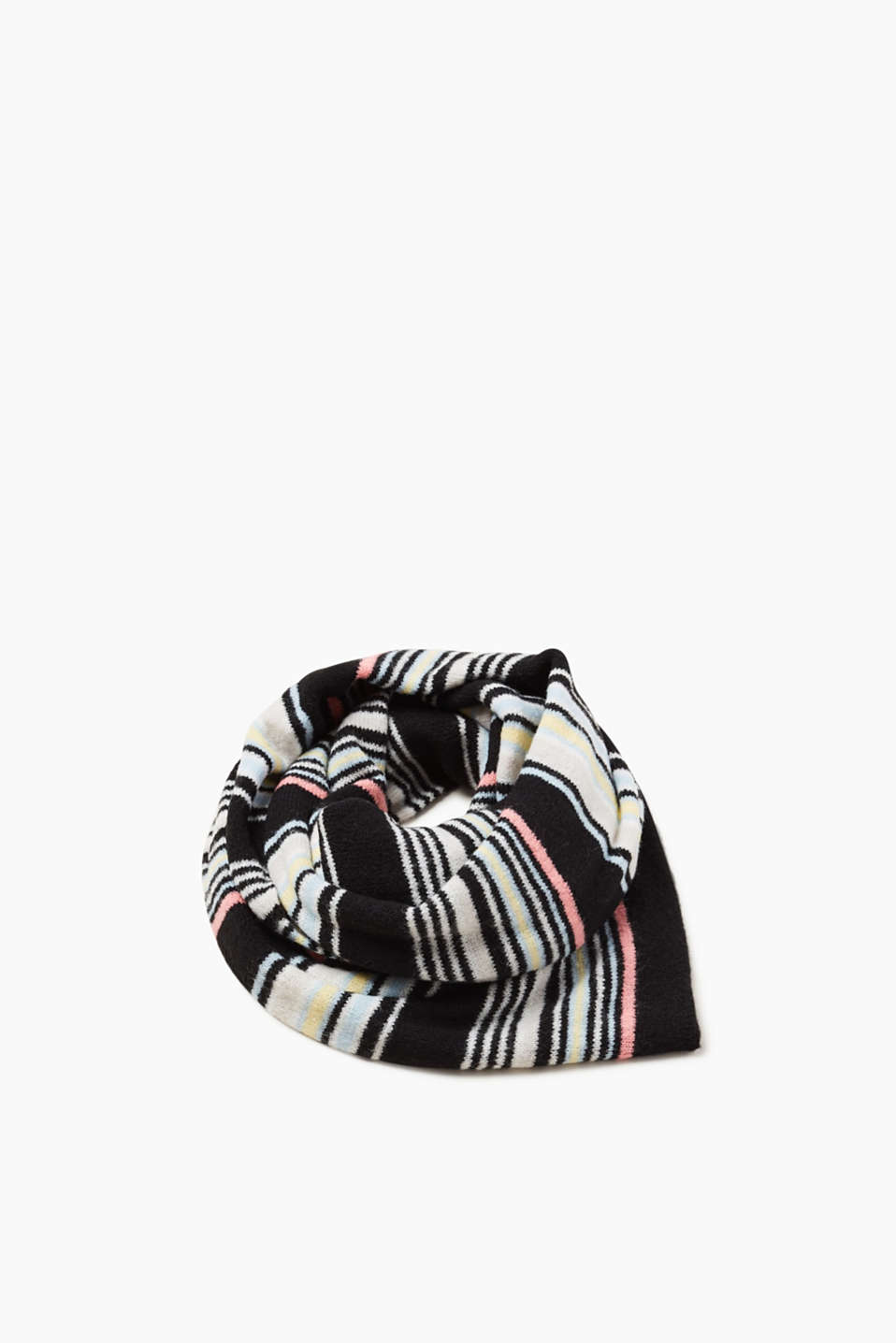 Esprit - Colourful striped scarf with wool