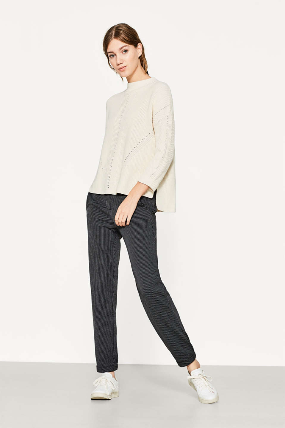 Esprit - Stretch jersey trousers with pinstripes
