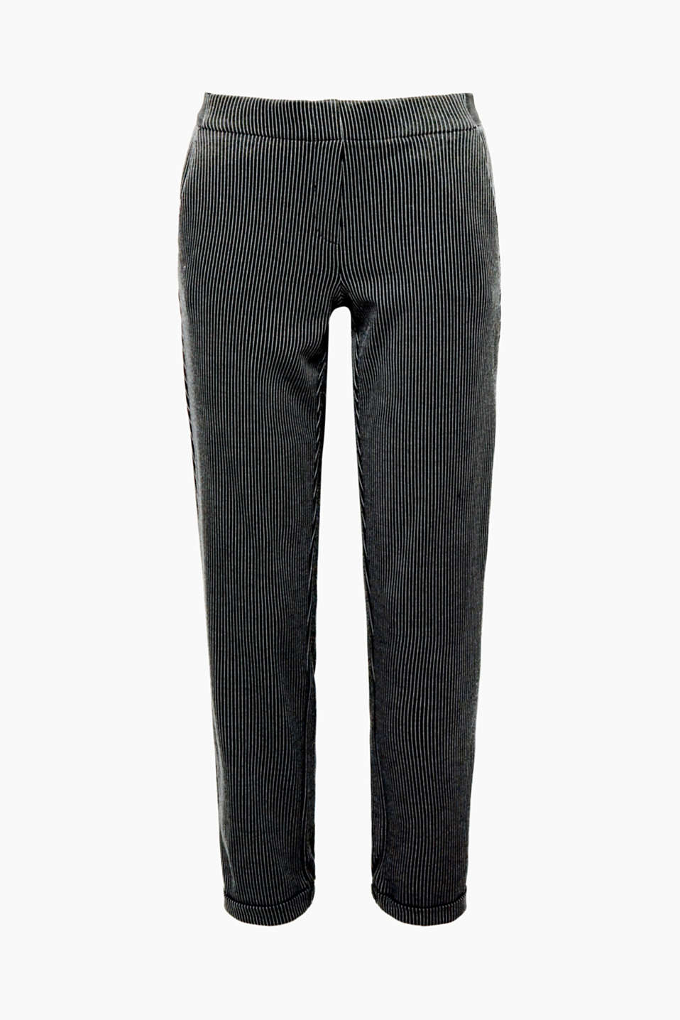 Comfortable, smart style: These trousers give you both soft stretch jersey fabric and fine pinstripes.