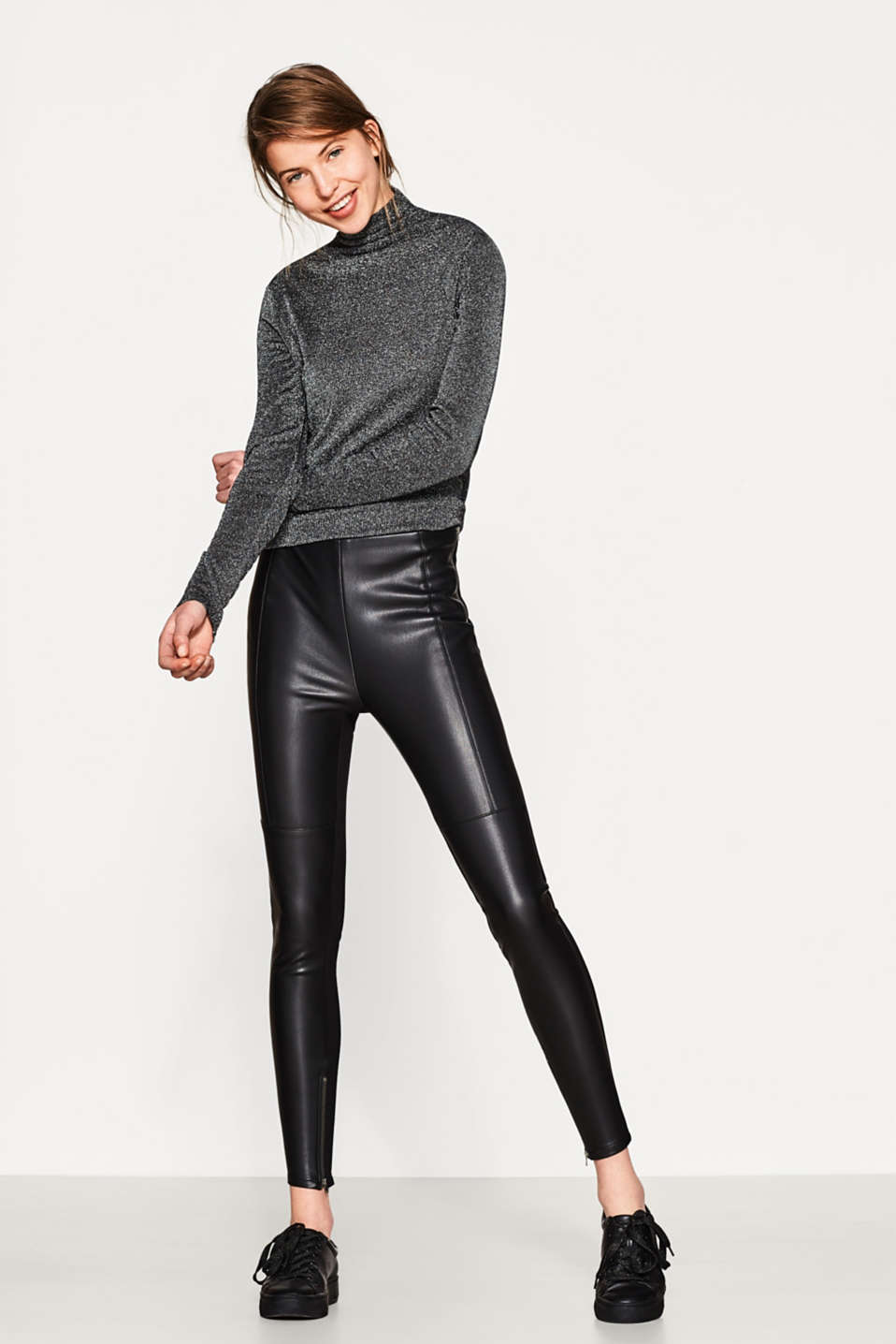 Esprit - Leather look treggings with jersey backs