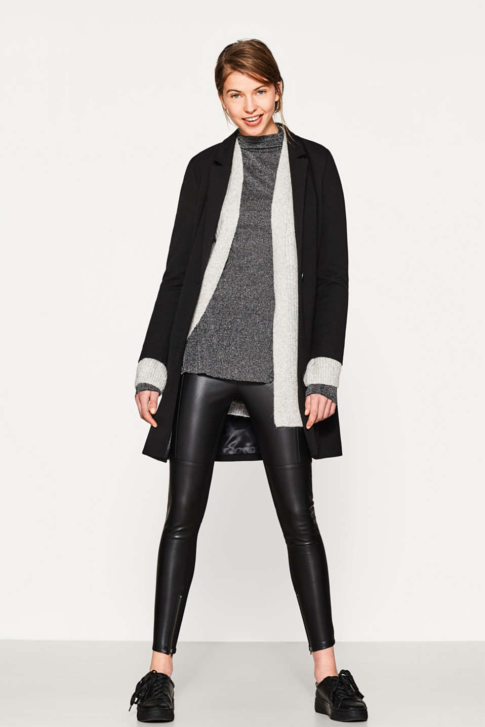 Leather look treggings with jersey backs