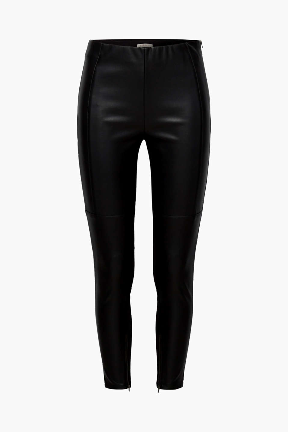 Stylish and sexy, these comfortable treggings feature faux leather on the front and comfy jersey on the back!