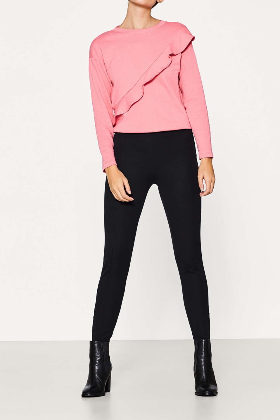 Esprit - Stretch trousers in compact blended fabric