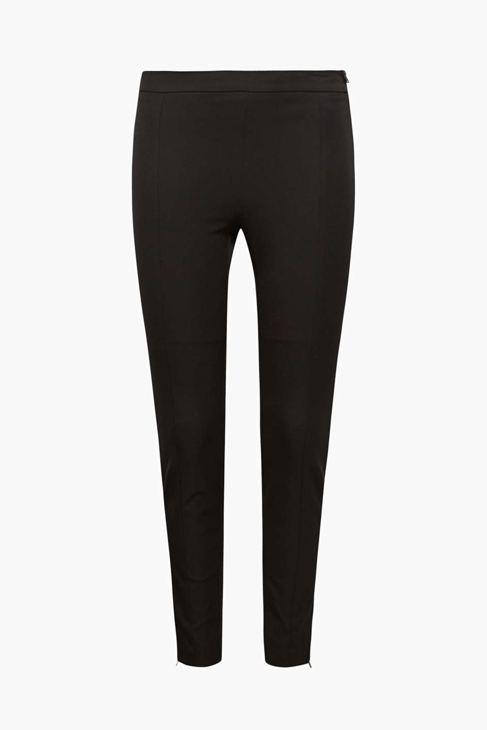 Conjures up a beautiful silhouette and great to mix and match: Stretch trousers with a side zip and hem zips!
