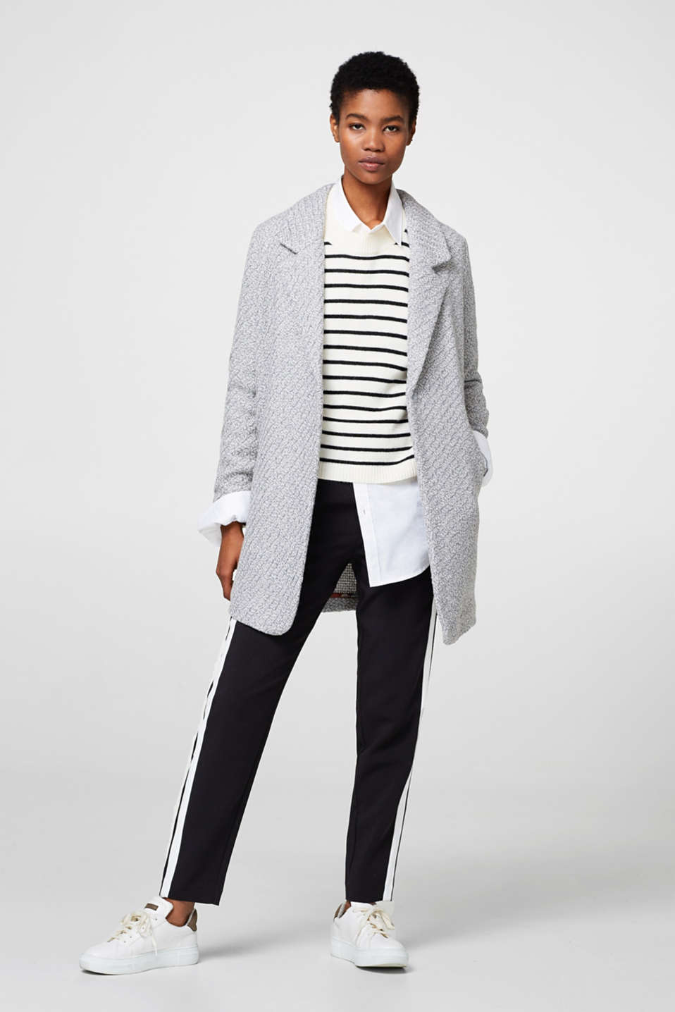 Woven stretch trousers with tuxedo stripes
