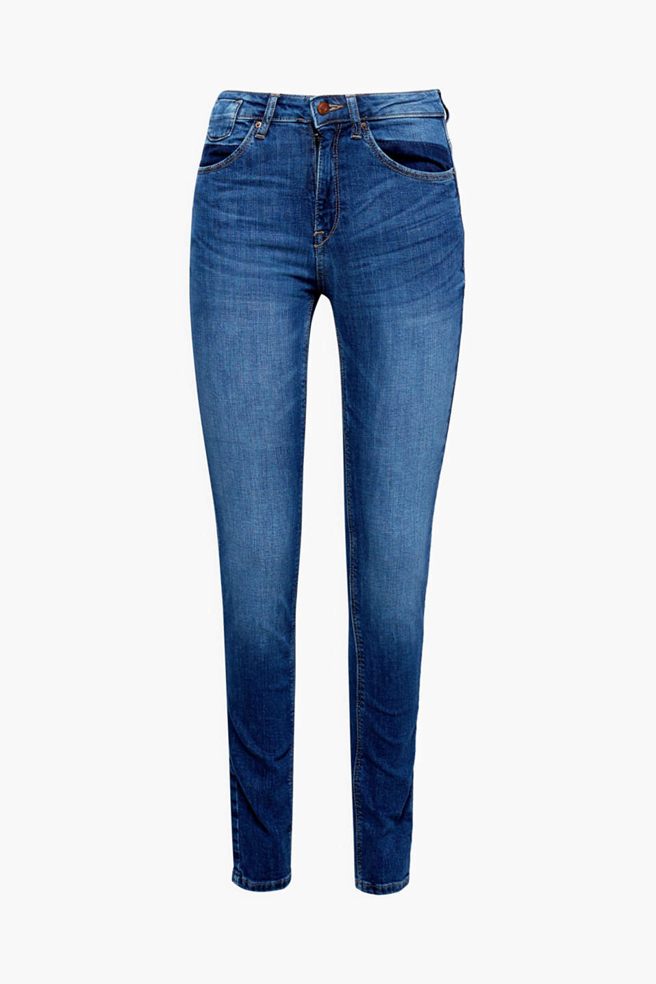 These slim fit stretch denim jeans in an innovative fabric blend feature pockets in a surprising new design!