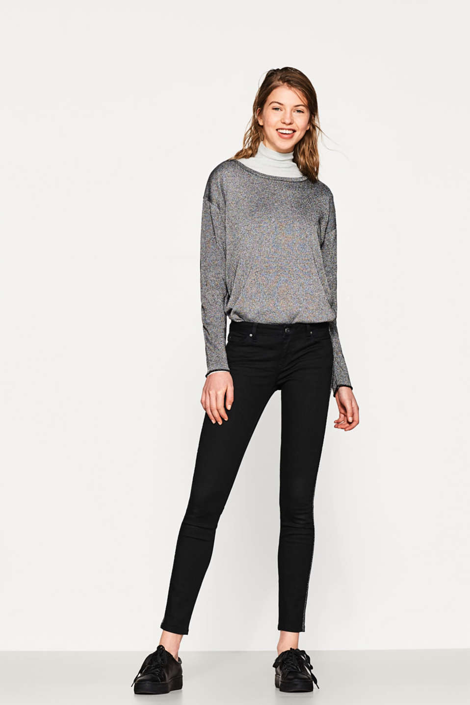 Esprit - Stretch-Denim mit Glitzer-Galonstreifen