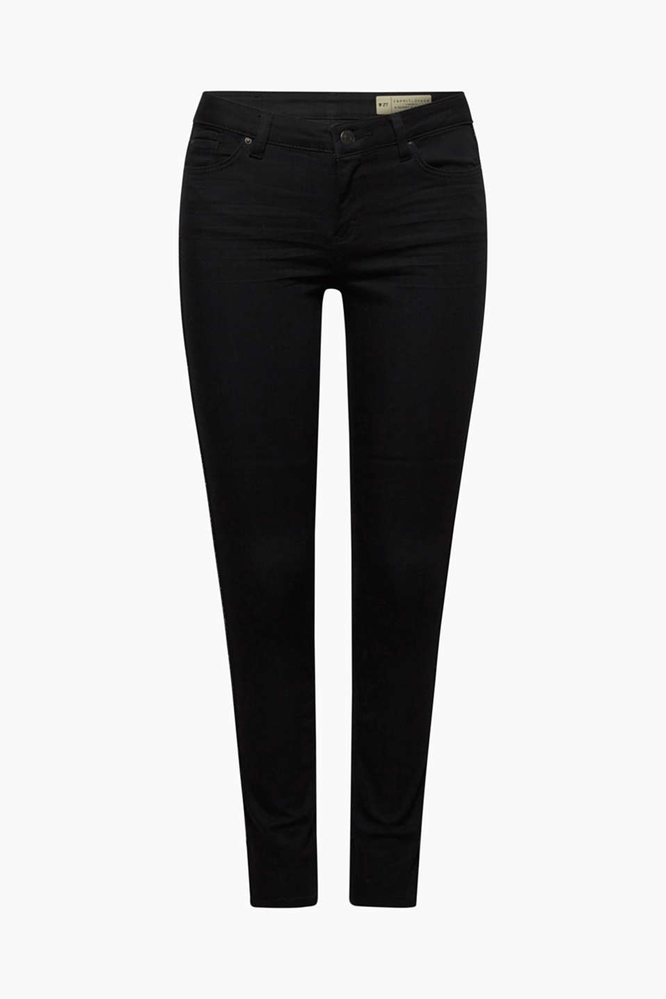 Cool denim, a skin-tight fit and elegant, glittery tuxedo stripes - these deep black stretch jeans have everything you need!