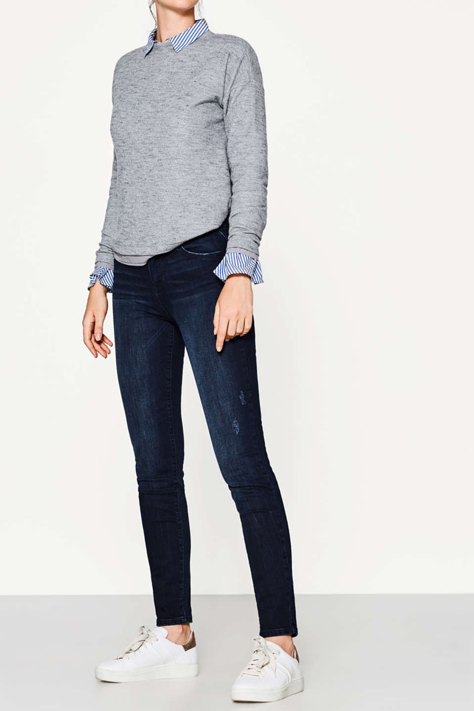 Esprit - Dark stretch jeans with vintage effects