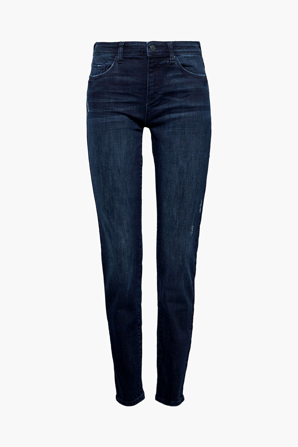 These dark denim jeans with stretch and casual vintage effects fit your figure perfectly and are also super comfy!