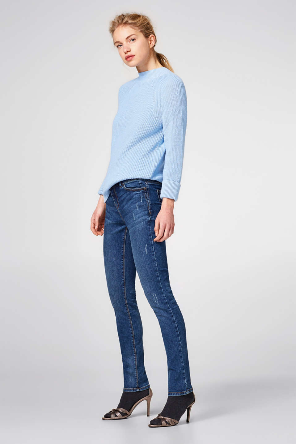 Esprit - Ultra stretchy jeans with two buttons