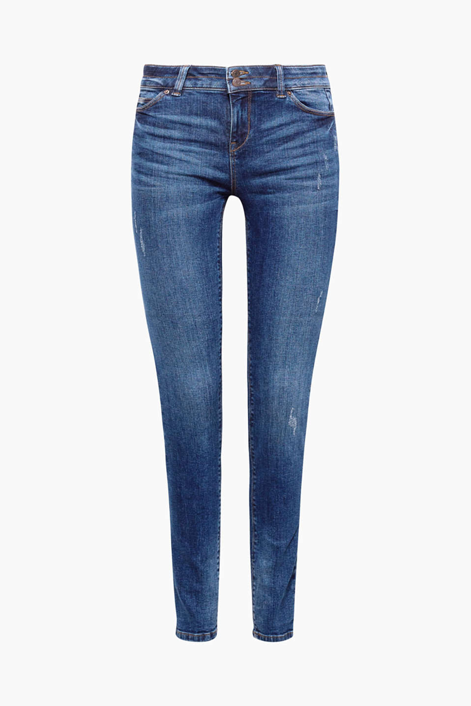 These casual jeans with subtle vintage effects and a two-button waistband offers new details and fabulous comfort.