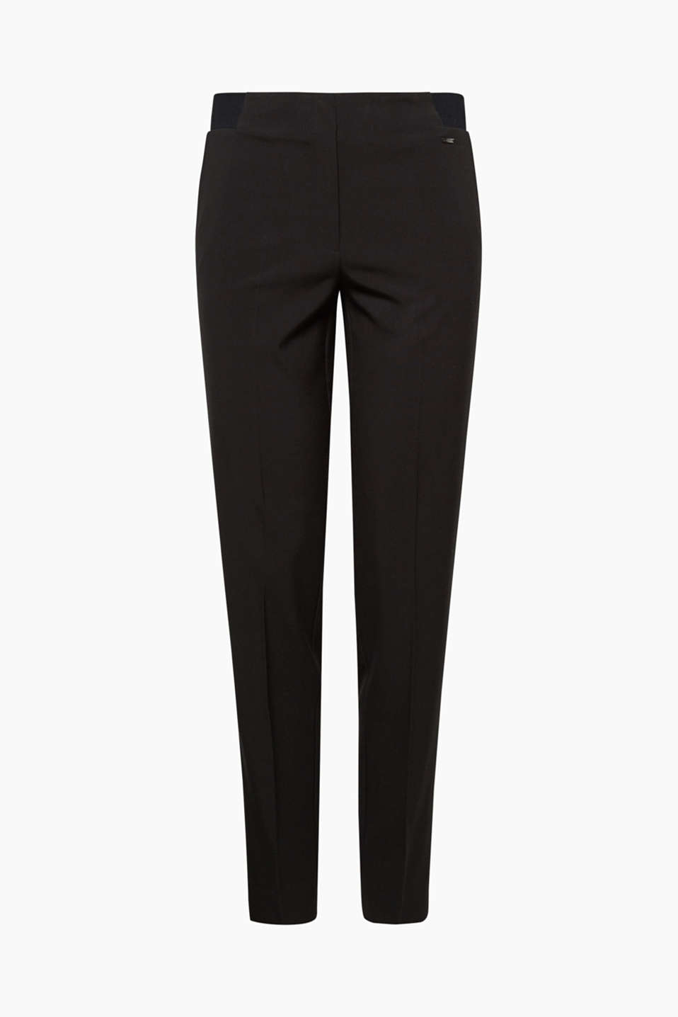 Smart and stylish: these stretch trousers with a higher-rise waistband, pressed pleats and hem turn-ups are both!