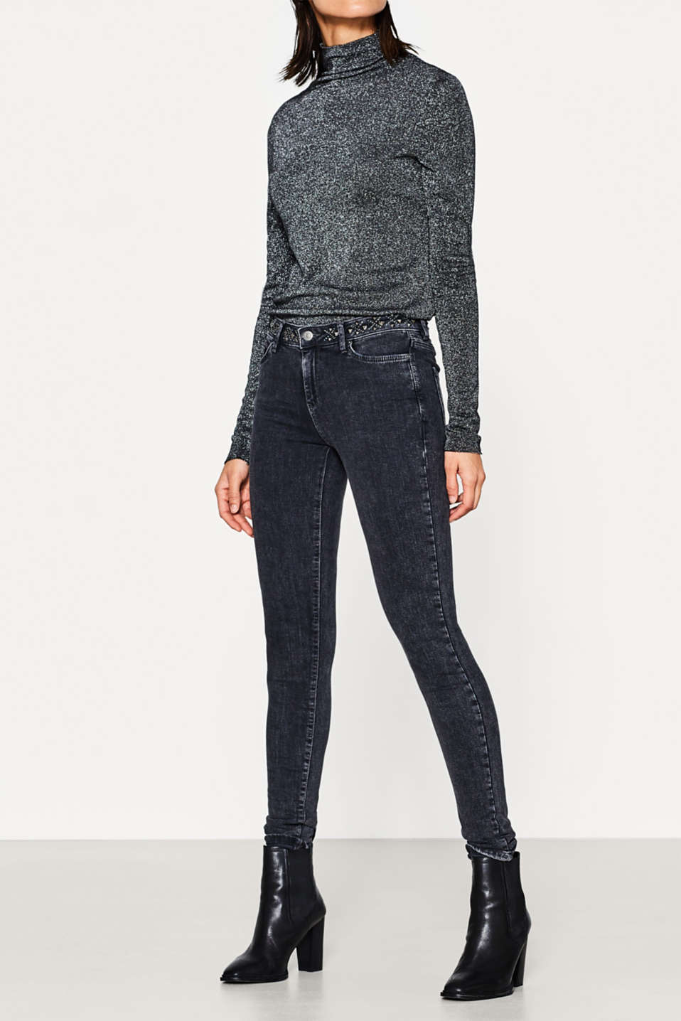 Esprit - Stretch jeans + stud-trimmed waistband