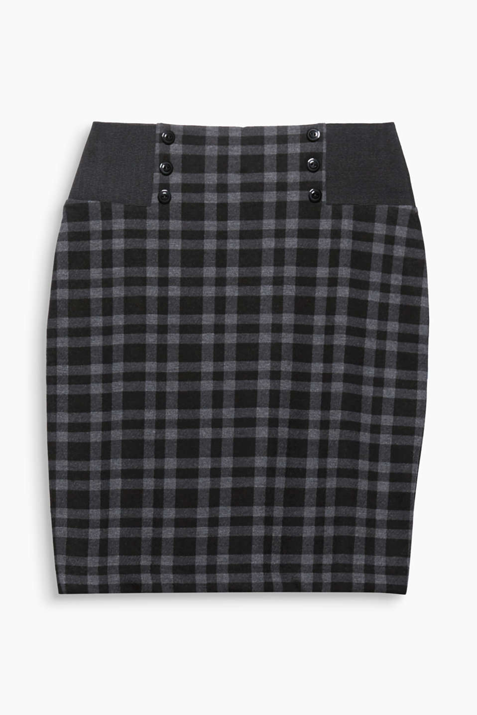 This checked pencil skirt in heavy jersey is a must-have thanks to the ultra-feminine retro charm!