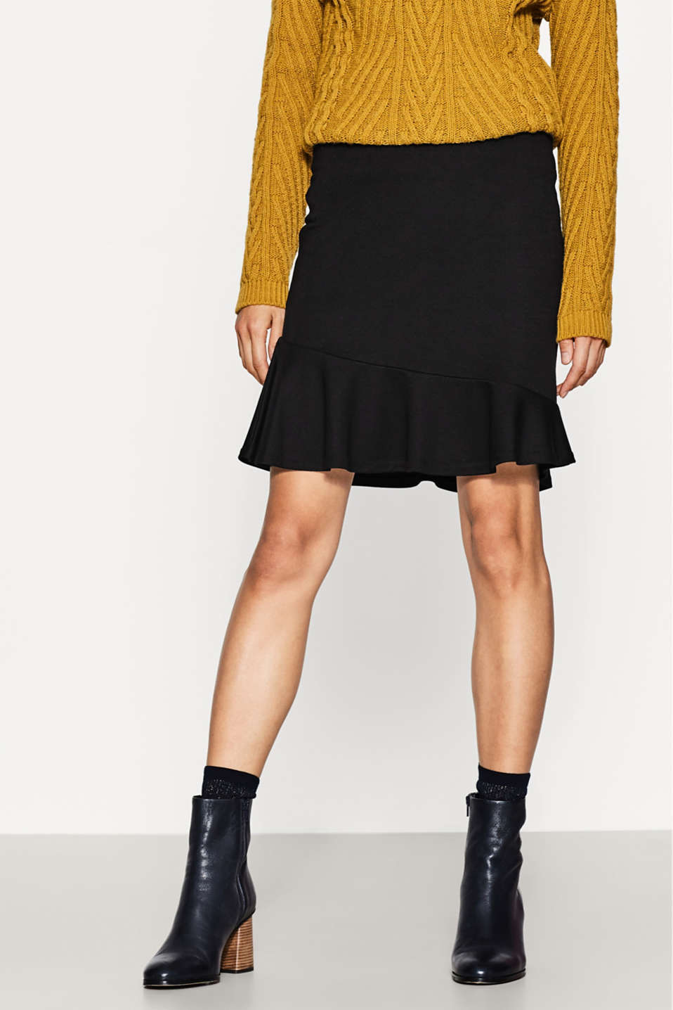 Esprit - Stretch jersey skirt with flounce hem