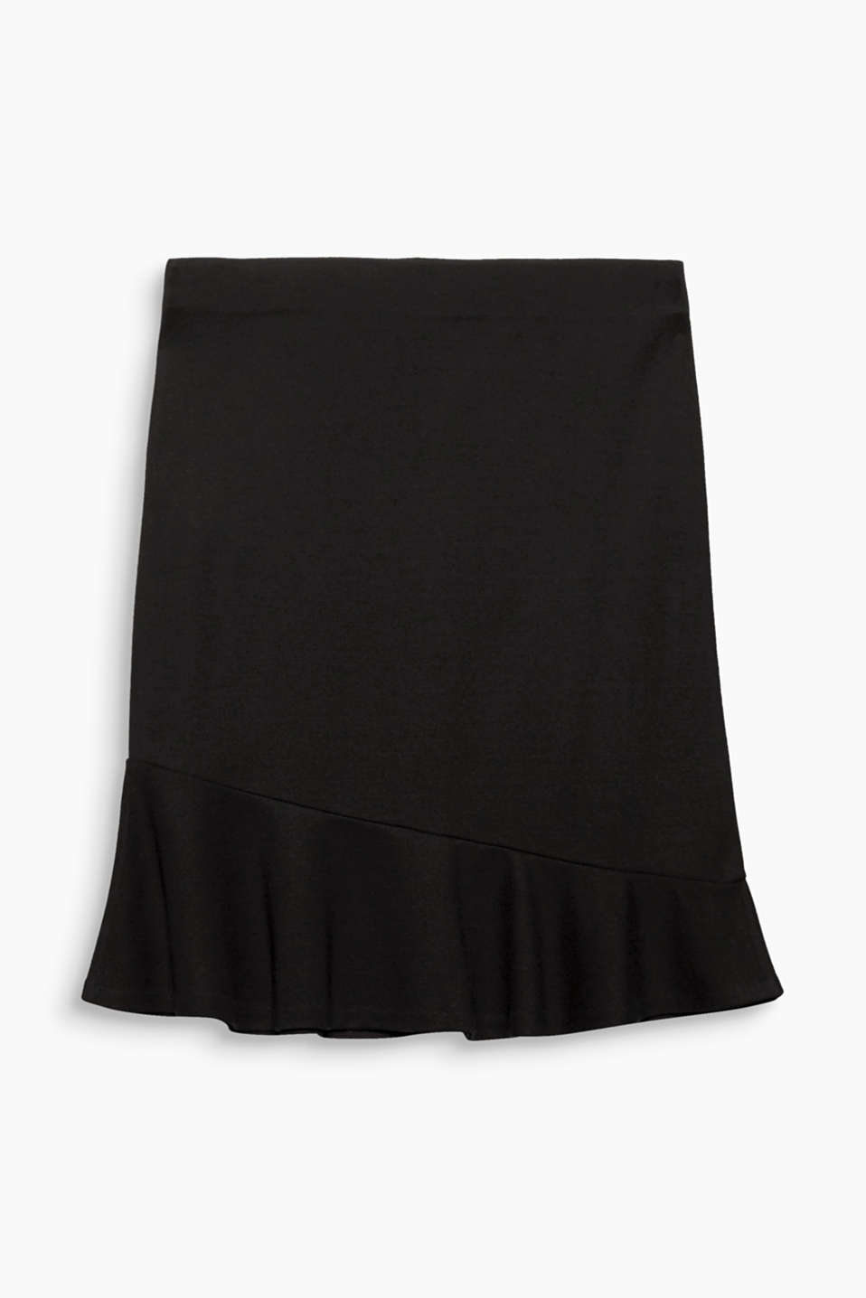 This simple stretch jersey skirt with an asymmetric flounce hem creates a feminine look in a heartbeat!