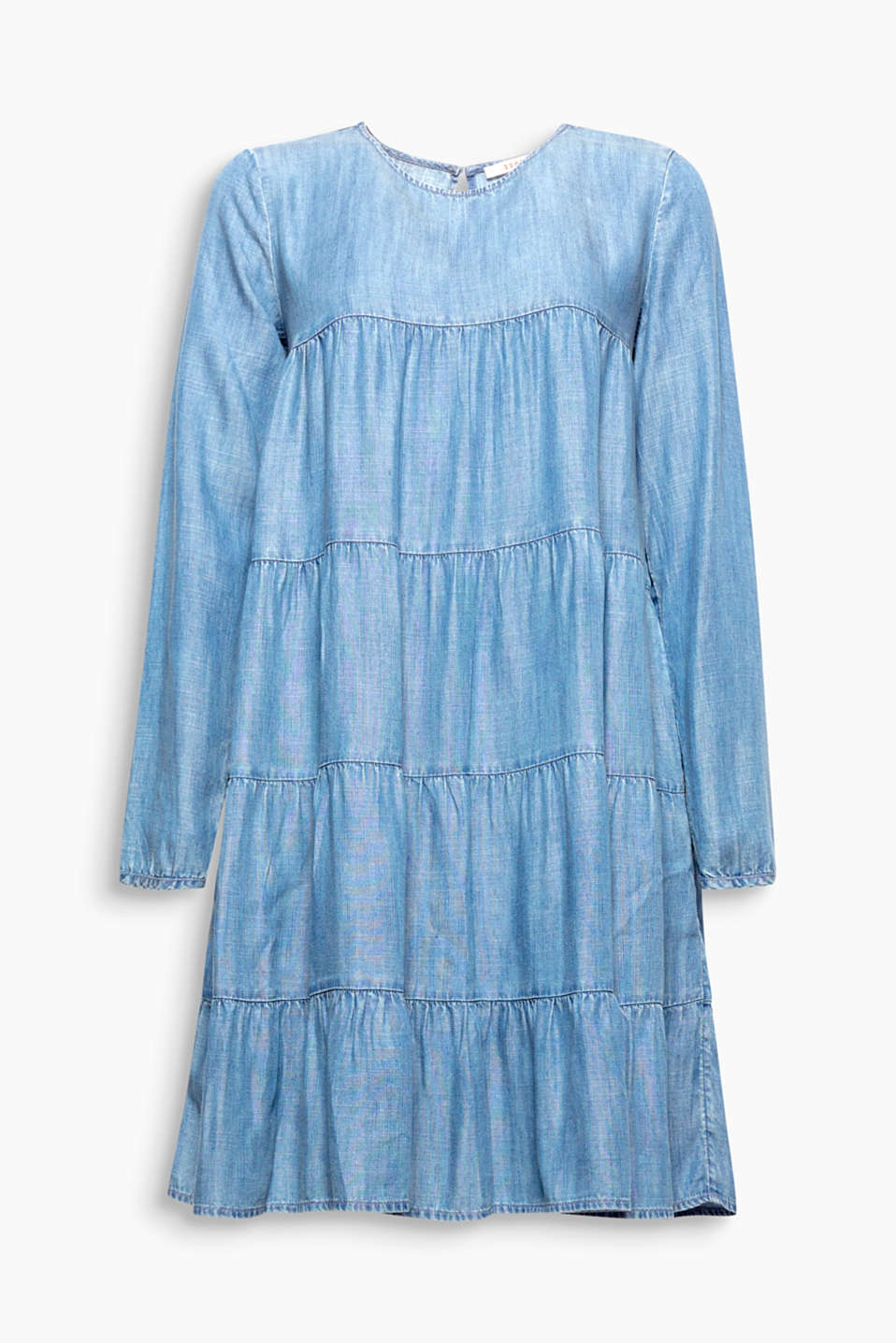Cool denim look and yet fantastically feminine: the A-line cut and tiered design make this lyocell dress playfully pretty!
