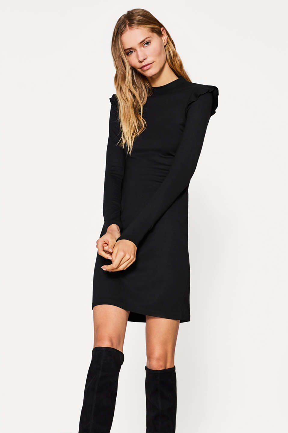 Esprit - Heavy jersey dress with frills