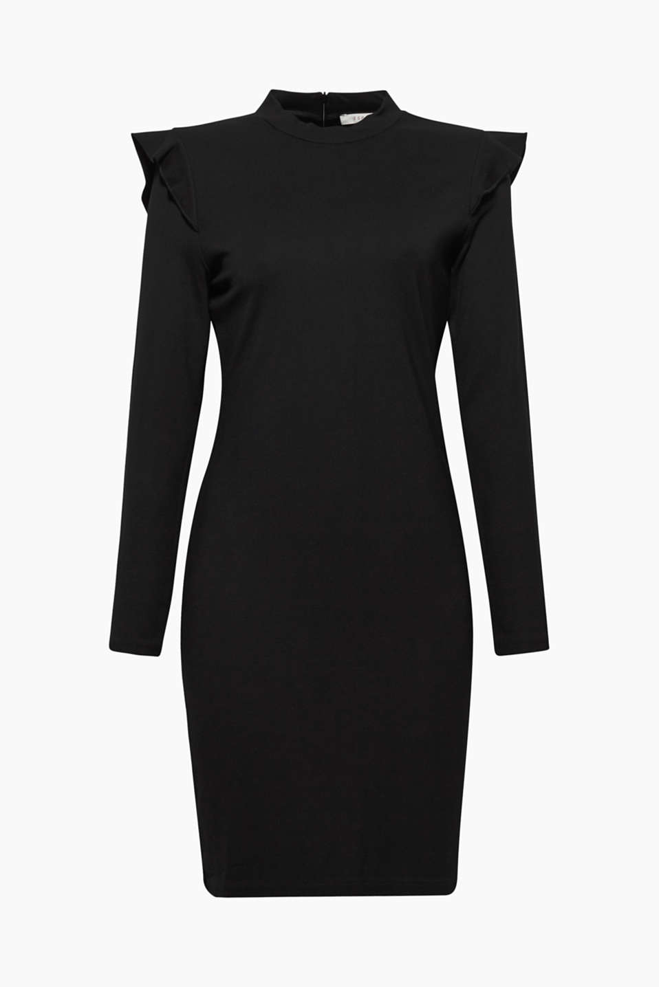 The frills on the shoulders give this little black dress made of heavy jersey a new look!