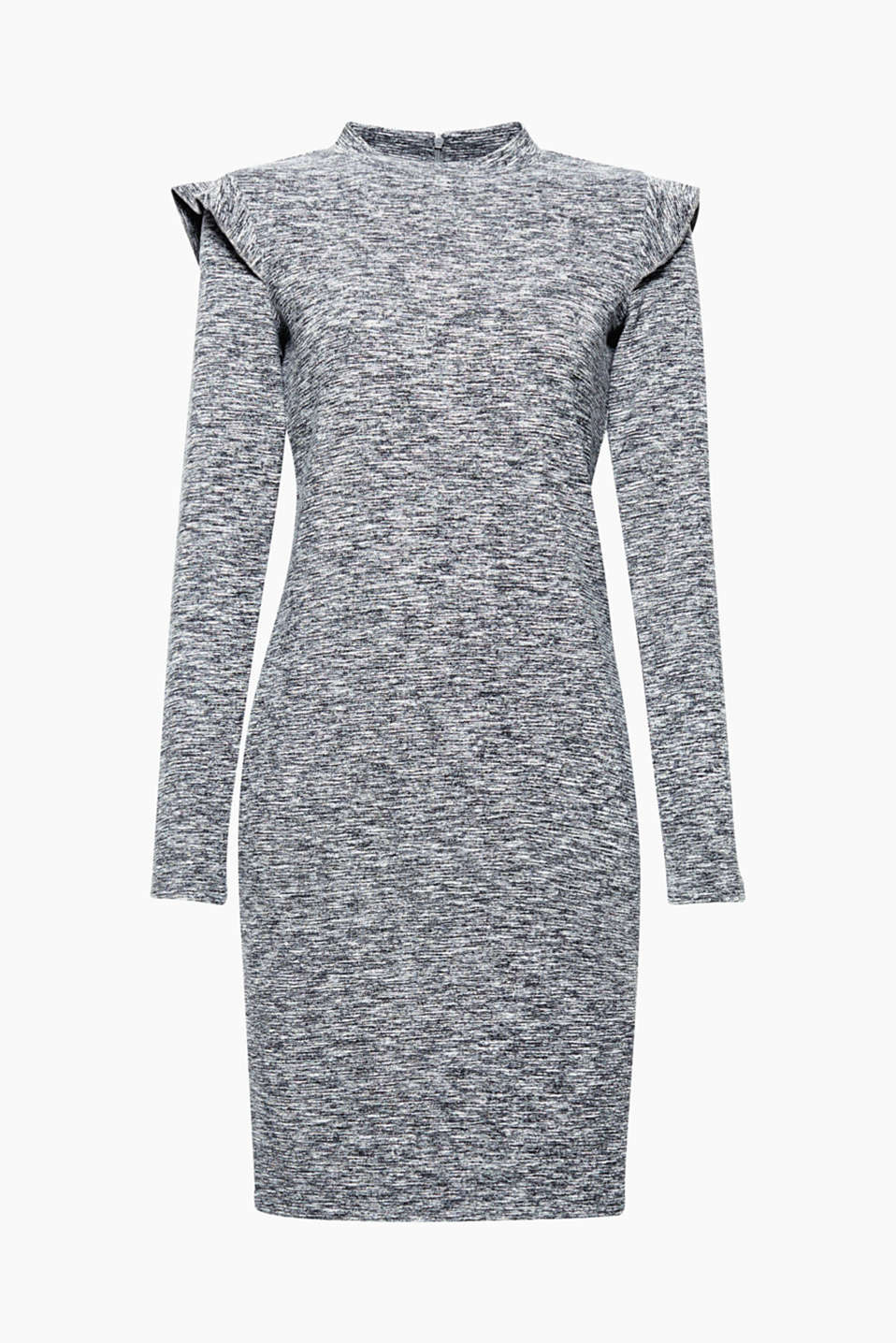Sporty melange finish, pretty styling: frills on the shoulders give this stretch dress a romantic twist!