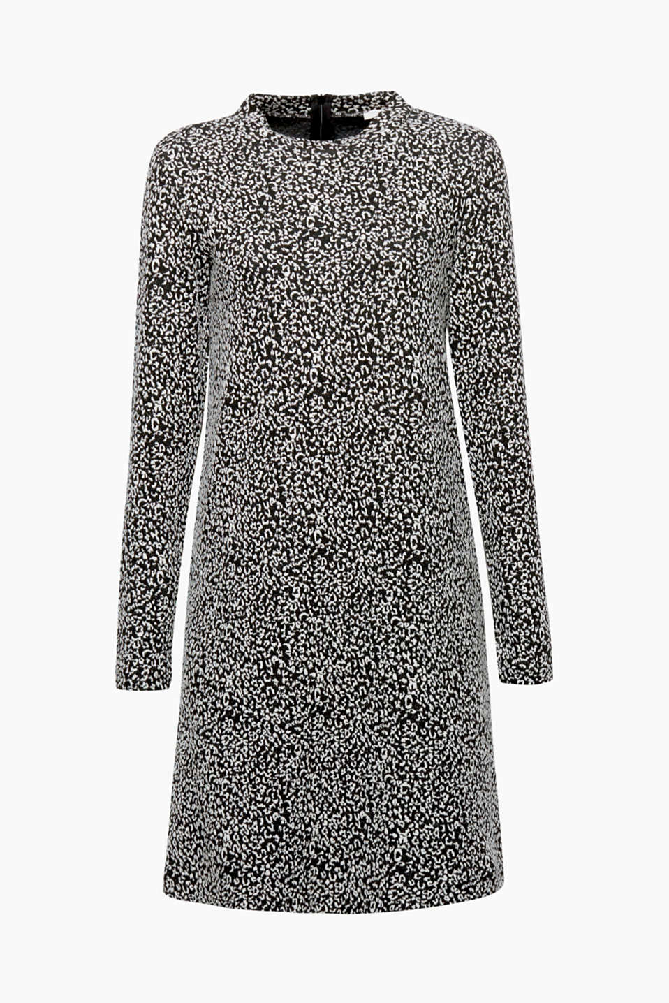 Latest leopard look: the soft stretch jersey shows off the jacquard pattern on this A-line dress to absolute perfection!