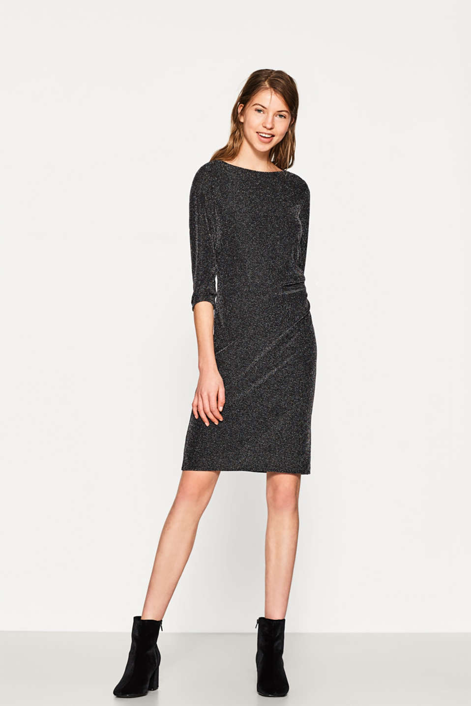 Esprit - Jersey-Kleid mit bunten Lurex-Effekten im Online Shop kaufen
