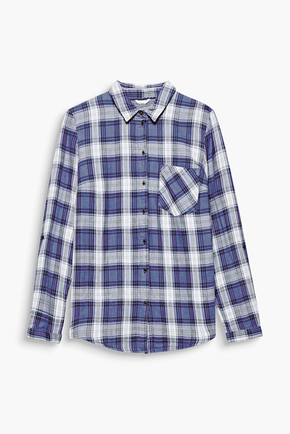This casual turn-up sleeve blouse is winterproof with its double-layer double-face construction and two check patterns!