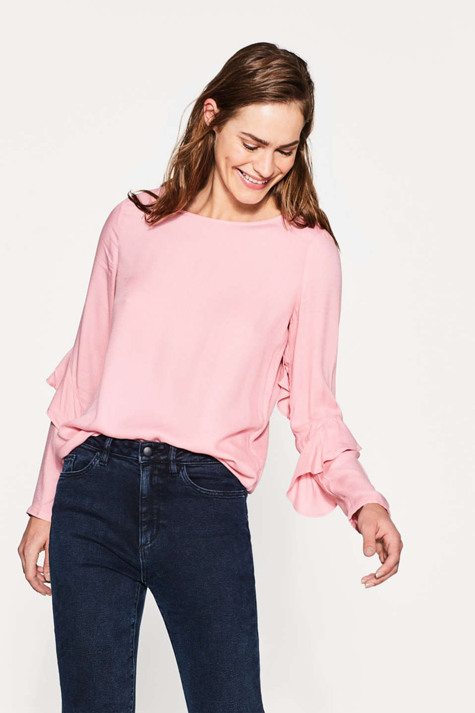 Esprit - Floaty blouse with frill sleeves