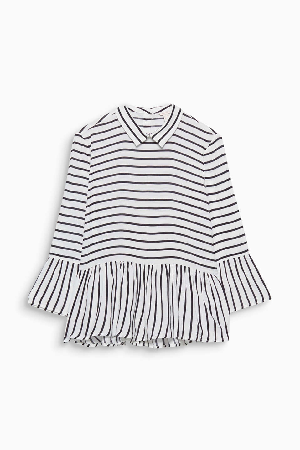 Clean stripes meet up with playful flounces and a peplum - and give your blouse a brand new style!