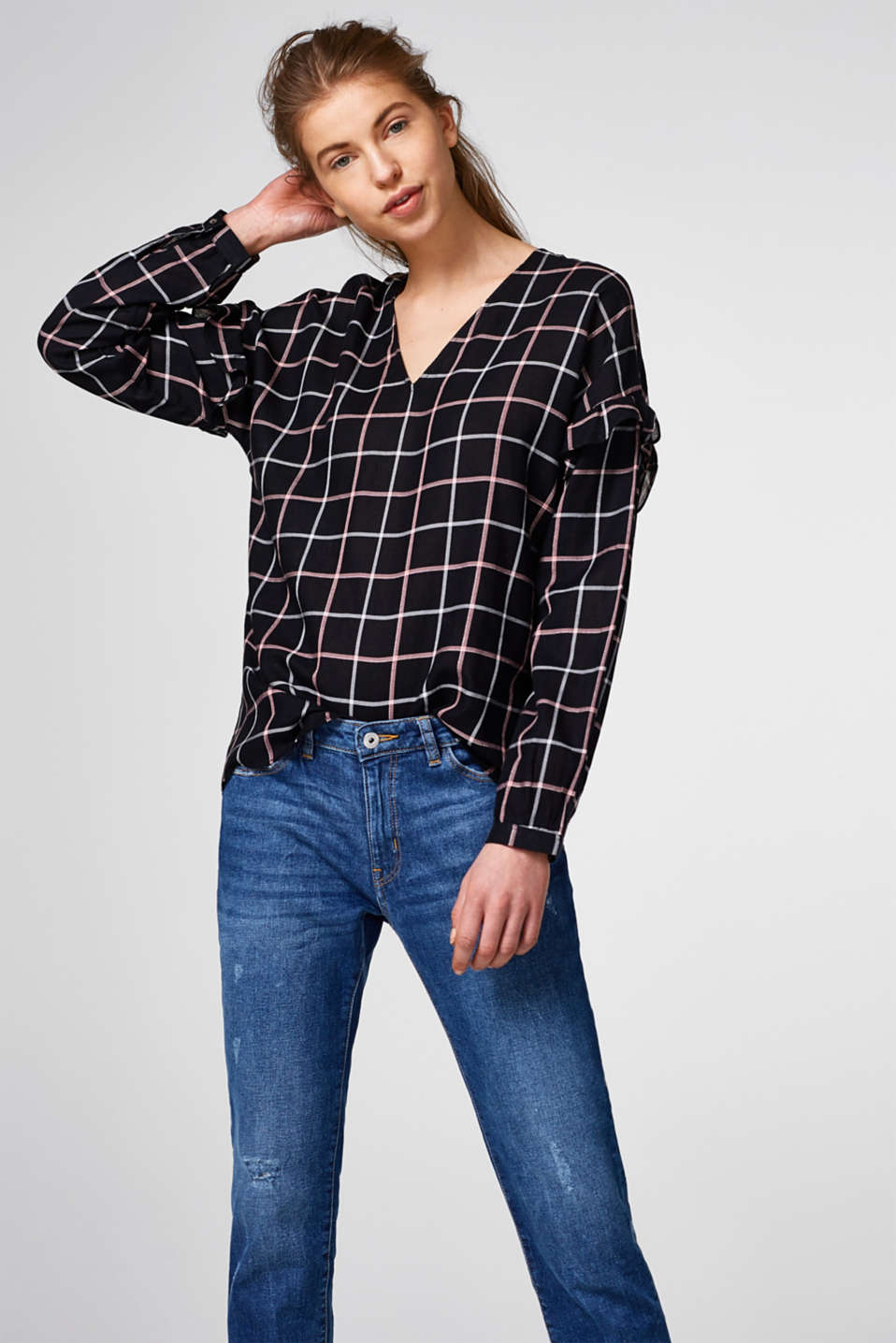 Esprit - Flowing check blouse with metallic effects