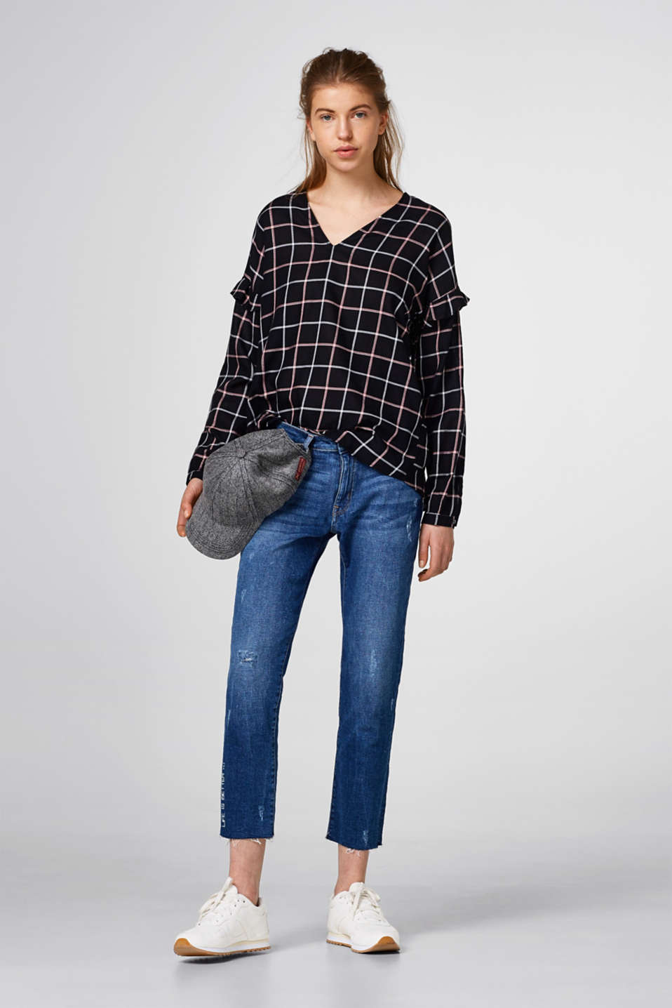 Flowing check blouse with metallic effects