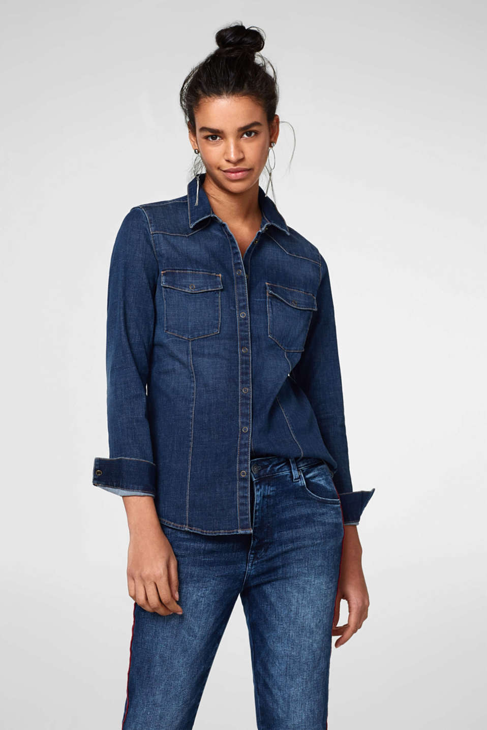 Esprit - Cowgirl style blouse in stretch denim