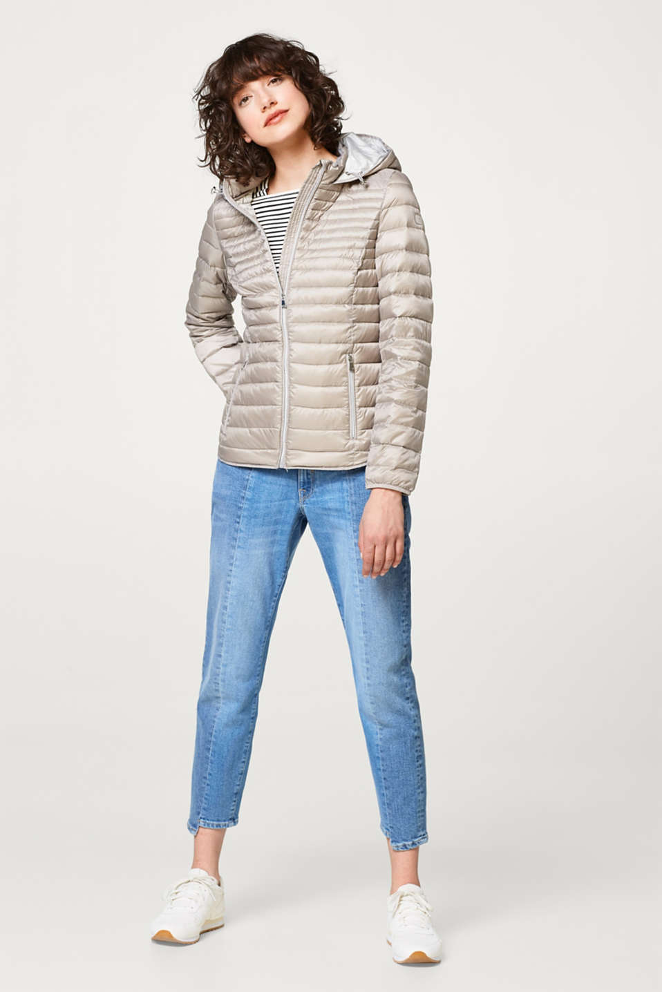 Feather light down jacket with a hood