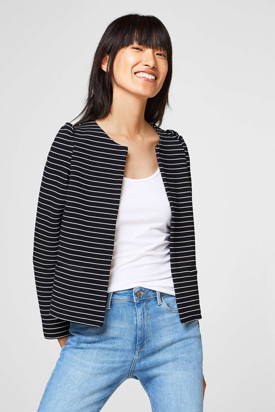 Esprit - Stribet cardigan i fast jersey/stretch