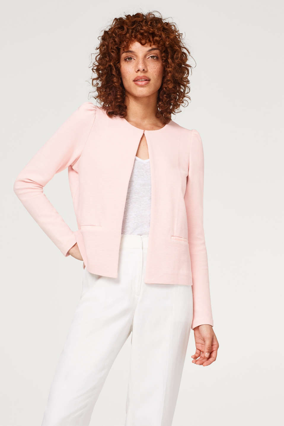 Esprit - Stretch jersey puff sleeve cardigan