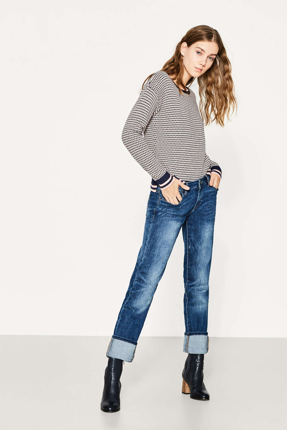 Esprit - Blended cotton jacquard jumper
