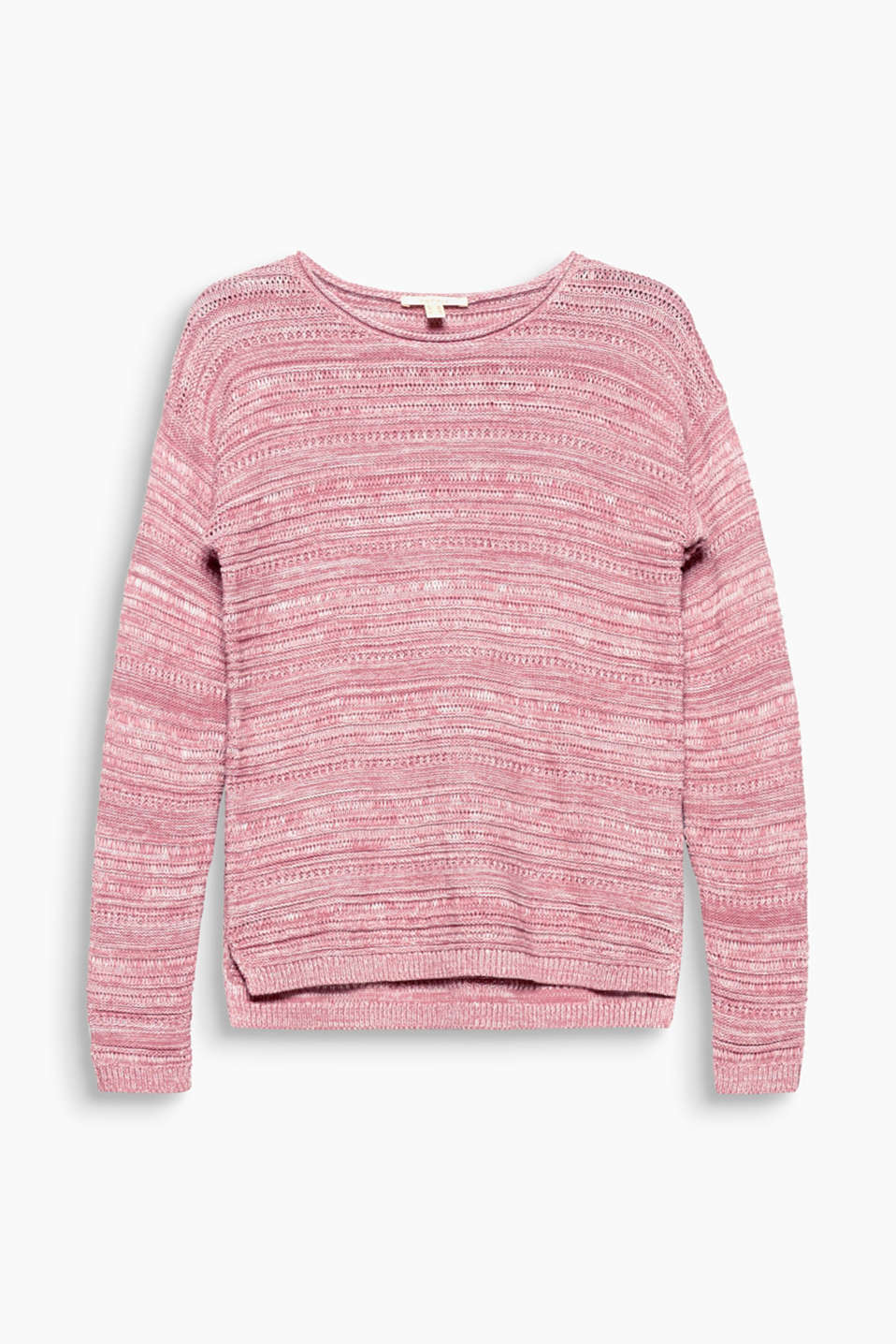Various textures in melange cotton yarn makes this jumper a striking, eye-catching piece!