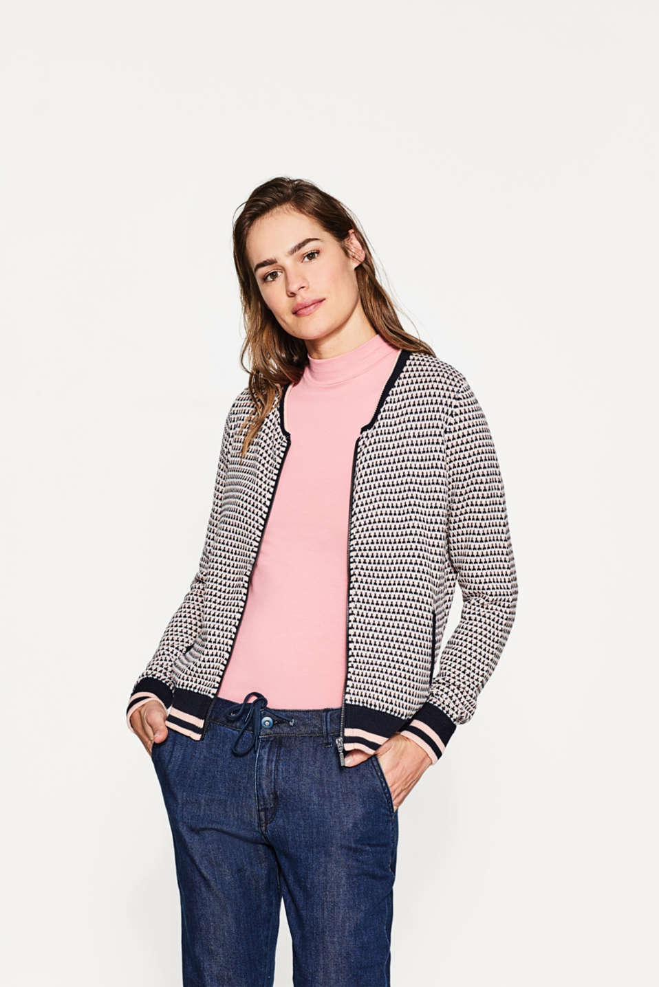 Esprit - Knit bomber jacket with a jacquard pattern
