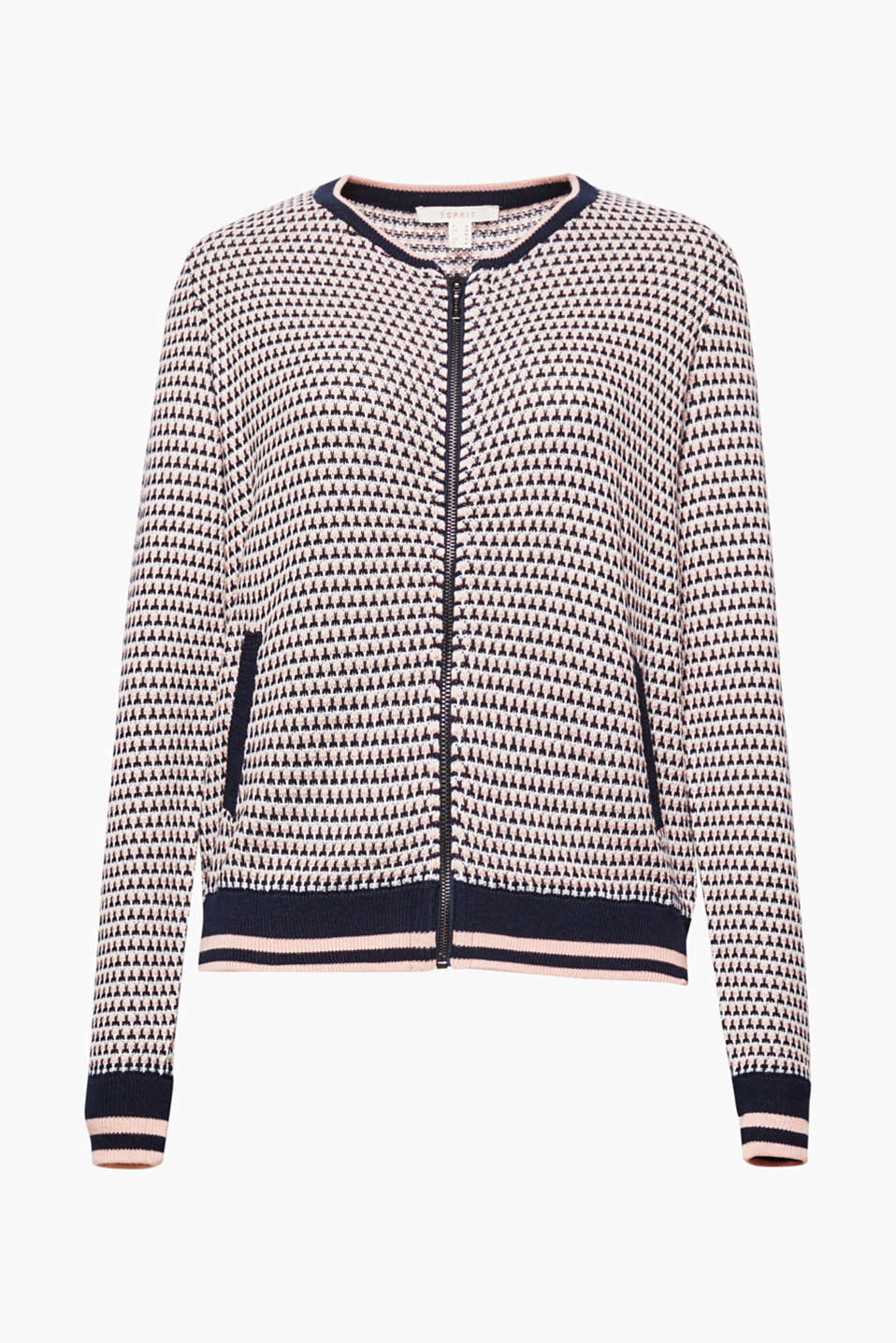 The bomber design featuring classic knit borders makes this jacquard pattern cardigan look beautifully casual!
