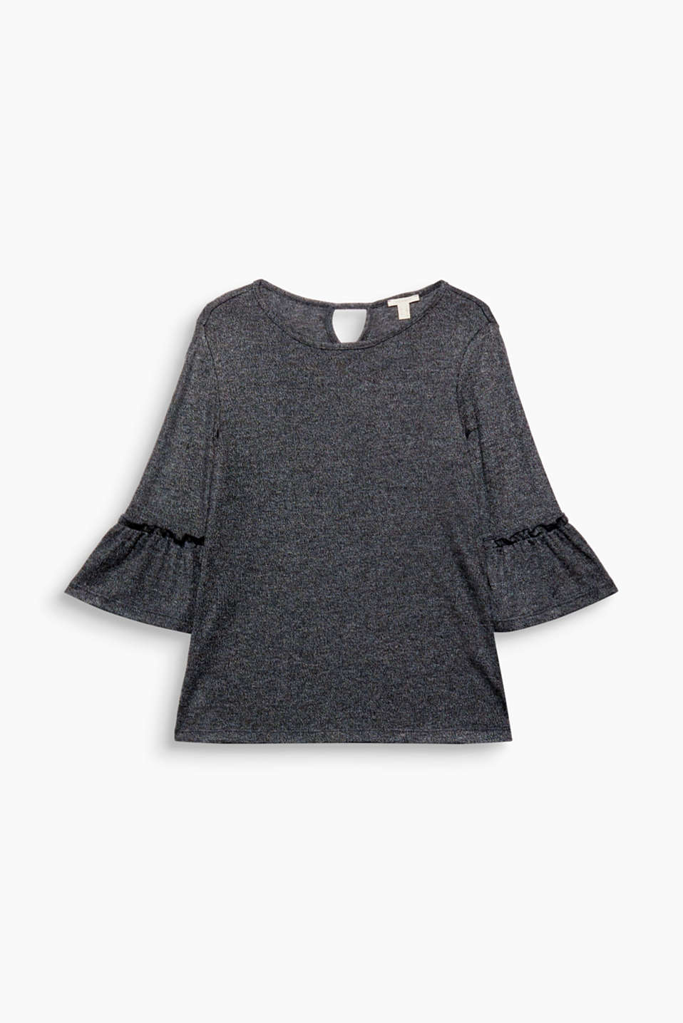 Thanks to its feminine frilled trim, this melange top with viscose is a particularly charming style