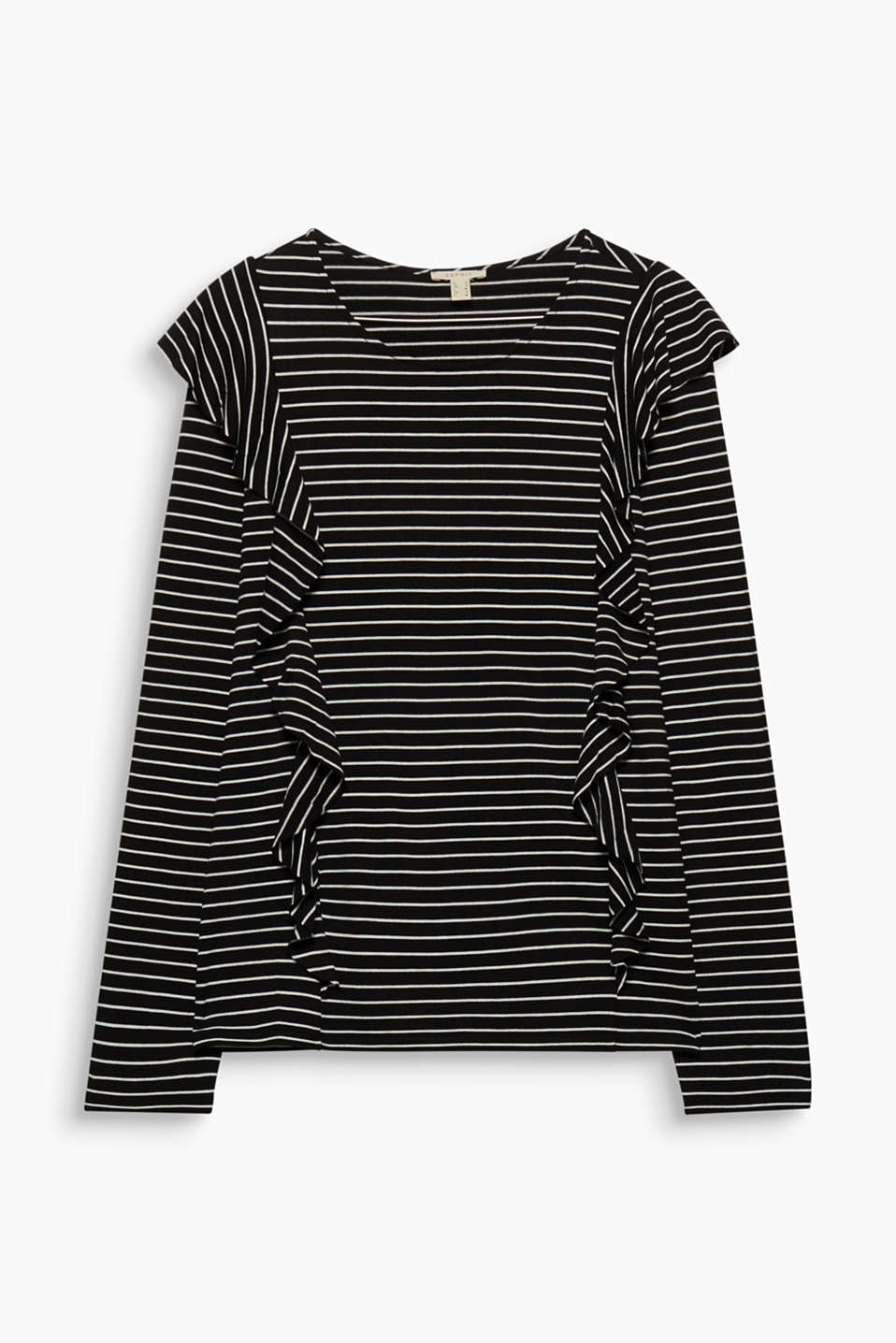Striped and ruffled, this floaty long sleeve top with added stretch for comfort looks sporty and pretty at the same time!
