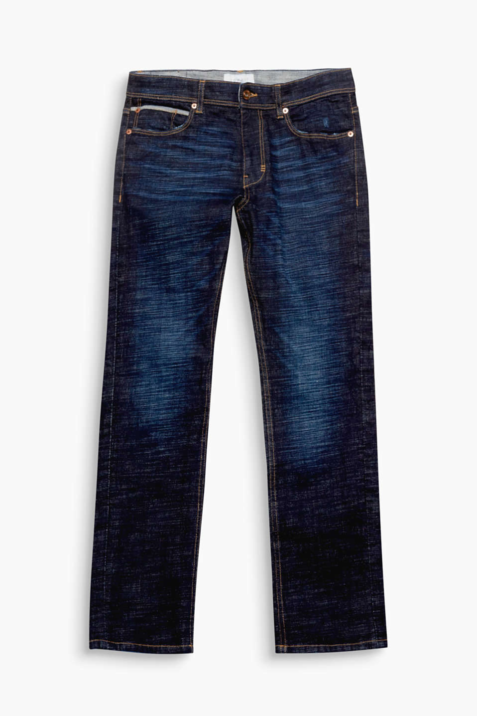 The striking vintage garment wash and straight cut make these jeans key for creating urban street style looks.