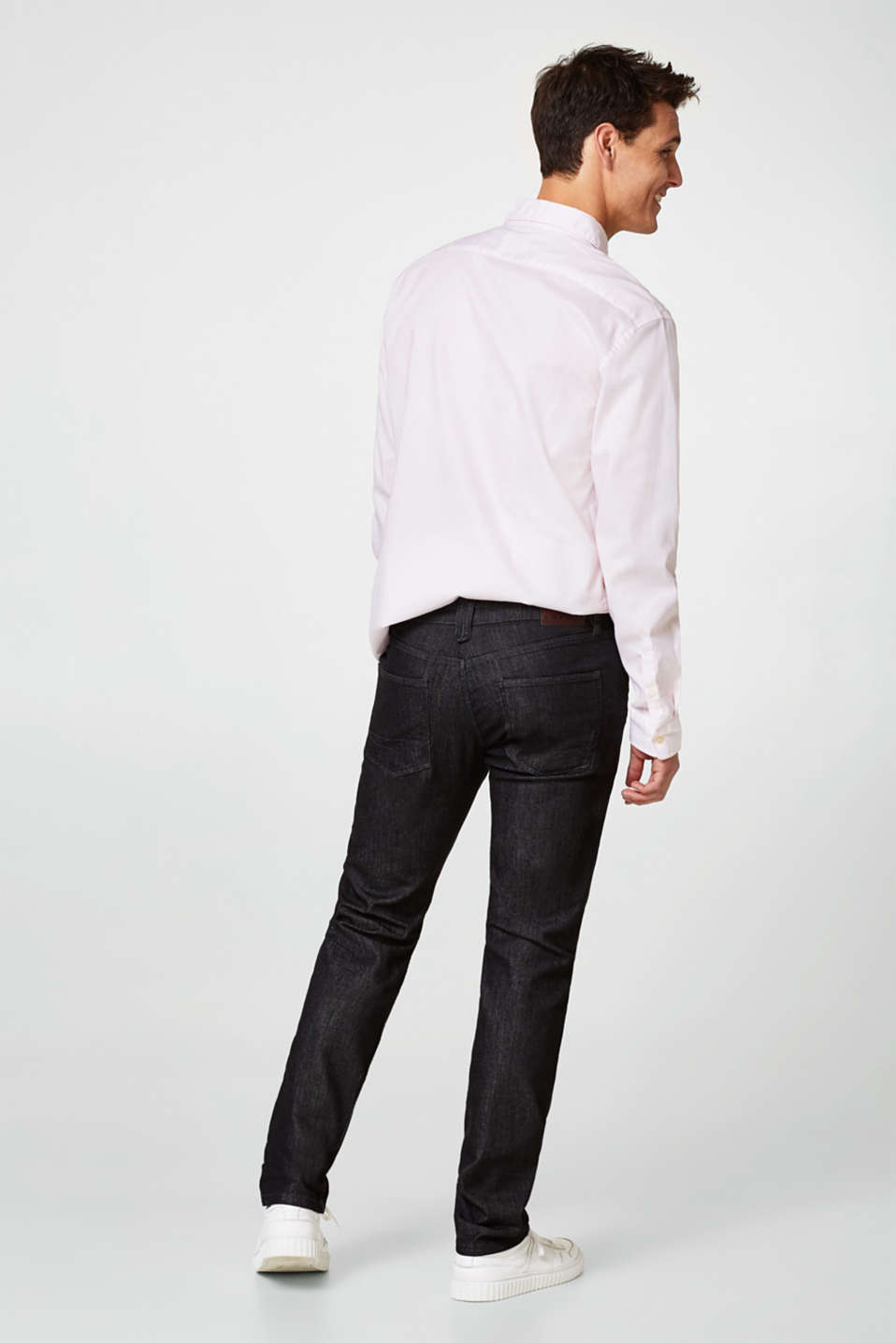 Stretch jeans with a fine melange finish