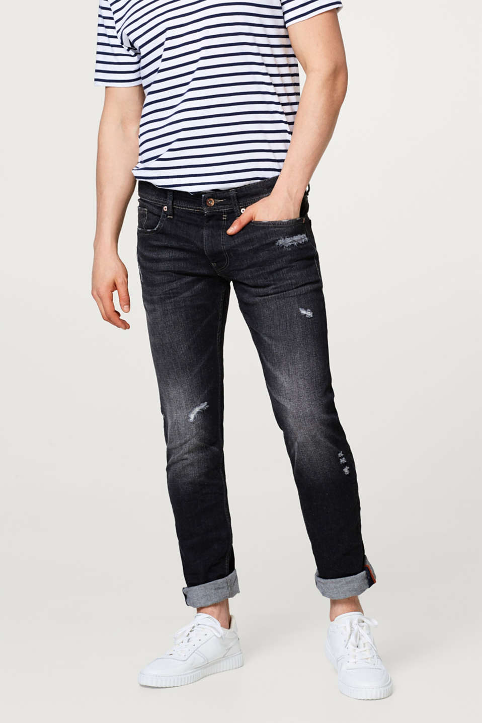 Esprit - Stretch-Denim mit Used-Waschung
