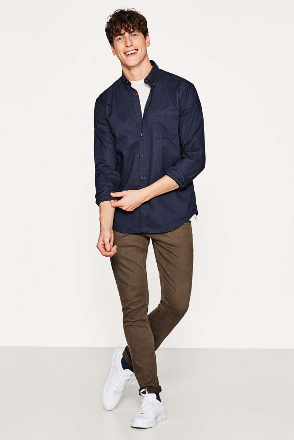 Esprit - Canvas-Hemd mit Button Down-Kragen