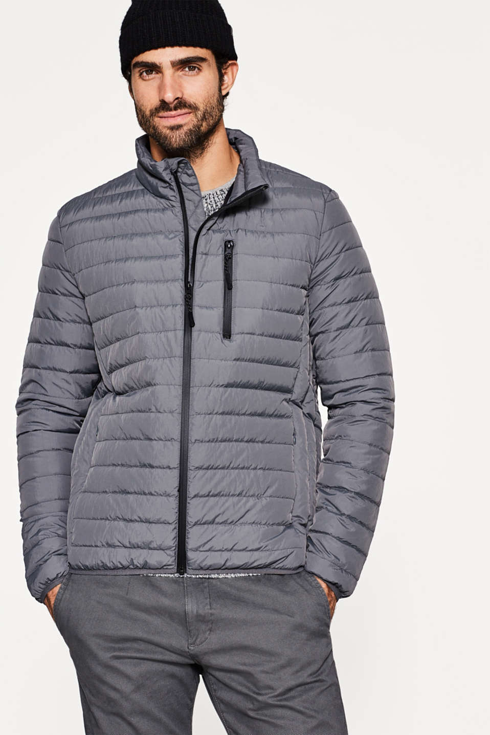 Esprit - Quilted jacket with down/feather filling